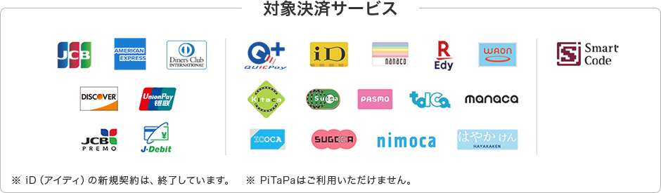 JCB, AMERICAN EXPRESS, Diners Club INTERNATIONAL, DISCOVER, UnionPay銀聯, JCB PREMO, ジェイデビット